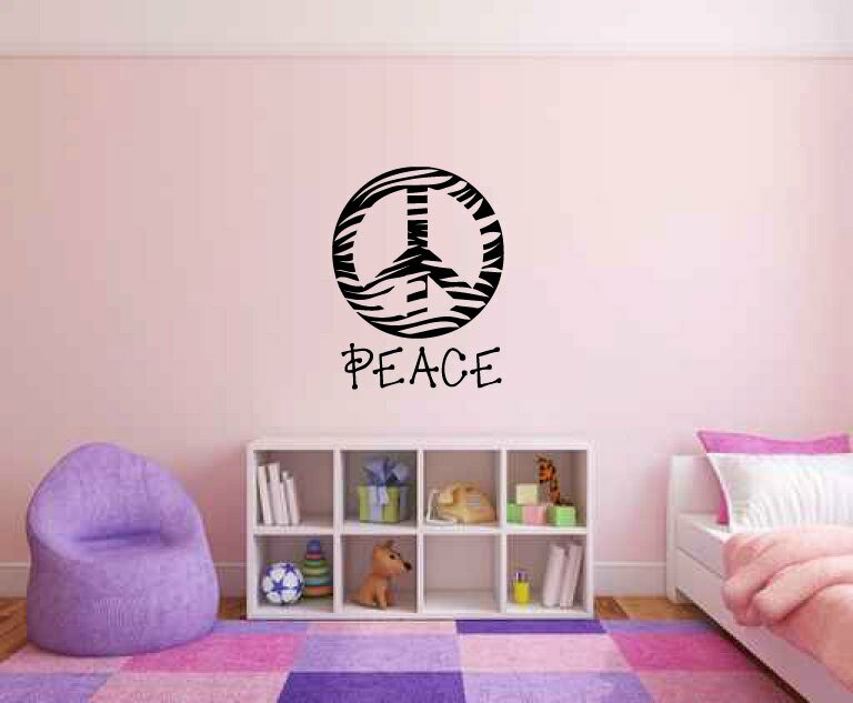 Awesome Zebra Print Wall Stickers Part - 14: Kate Zebra Print Peace Sign Symbol Silhouette Wall Decal