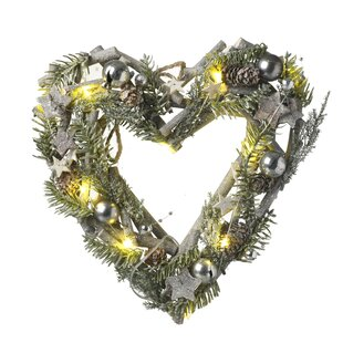 Heart 32cm Lighted Christmas Wreath Image