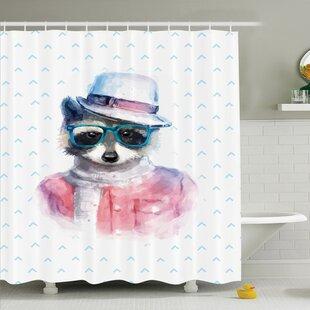 Kids Retro Hipster Raccoon Shower Curtain Set