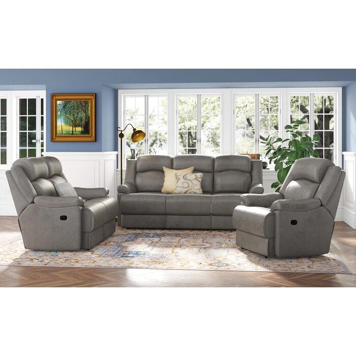Volkman 3 Piece Leather Reclining Living Room Set