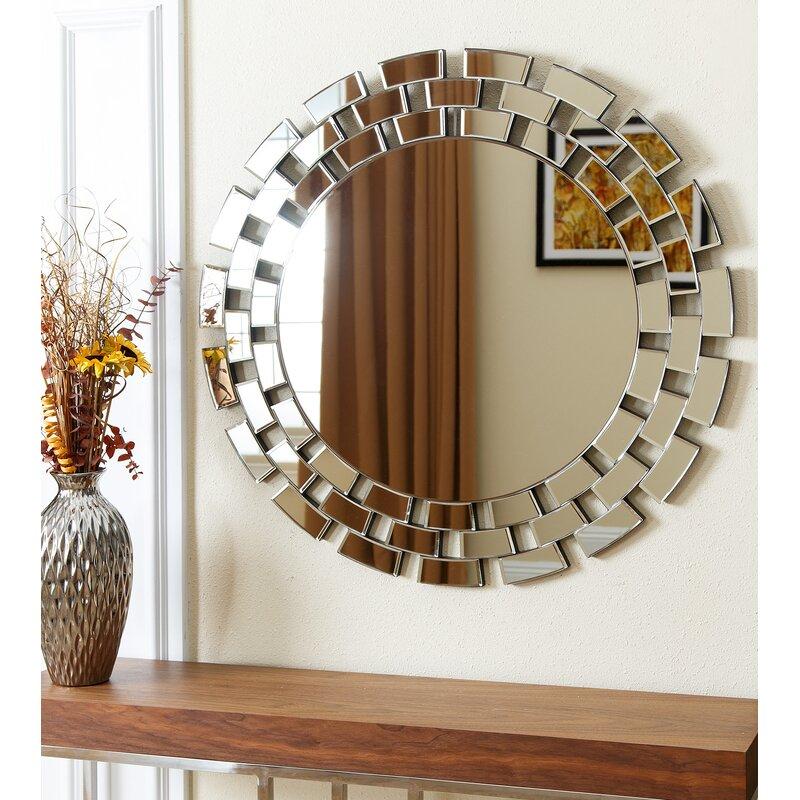 Round Glass Wall Mirror Brayden Studio Round