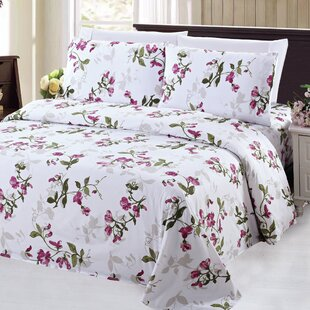 4 Piece Floral/Flower Rayon Sheet Set