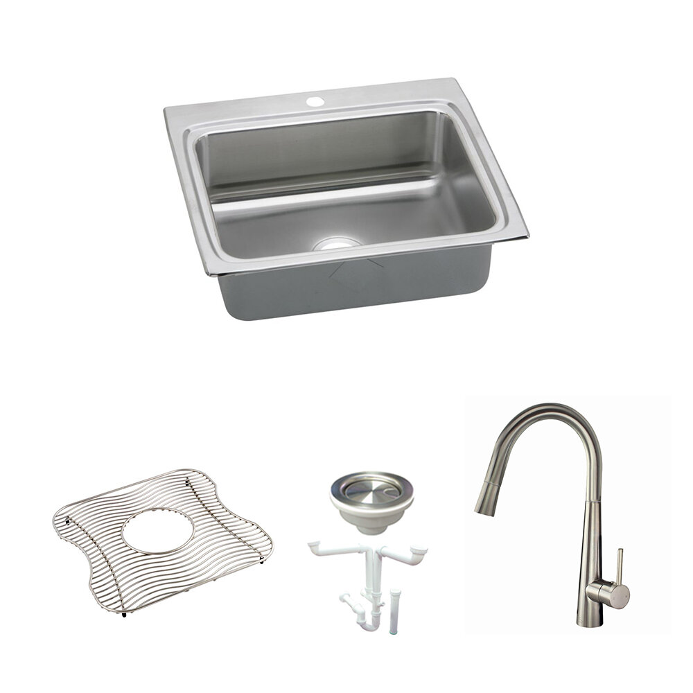 Elkay Lustertone Classic 25 L X 22 W Drop In Kitchen Sink With Faucet Wayfair