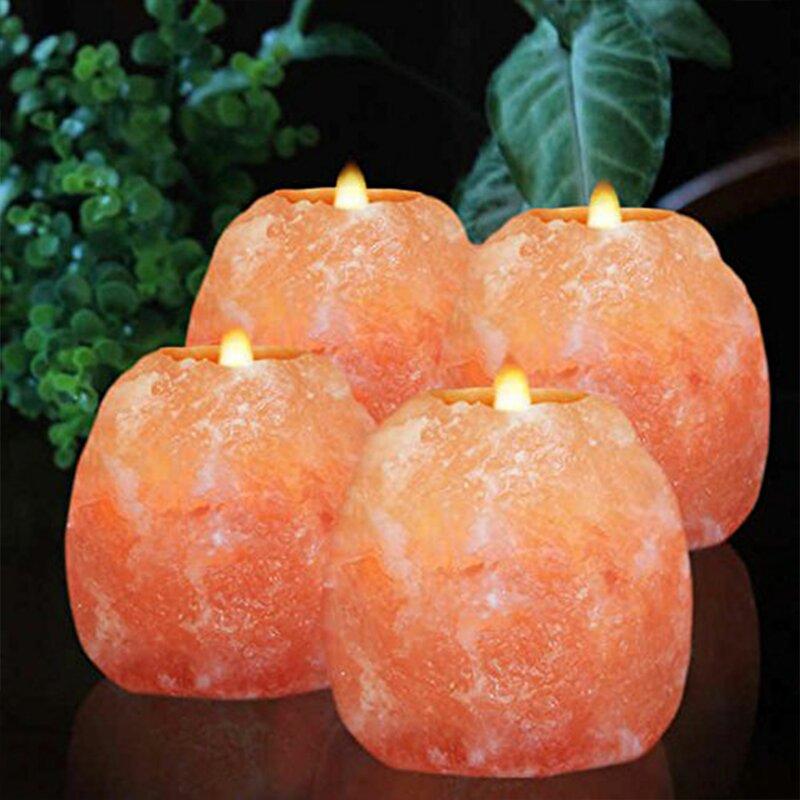 4 Piece Himalayan Glow Small Crystal Tealight Holder Set (Set of 4)