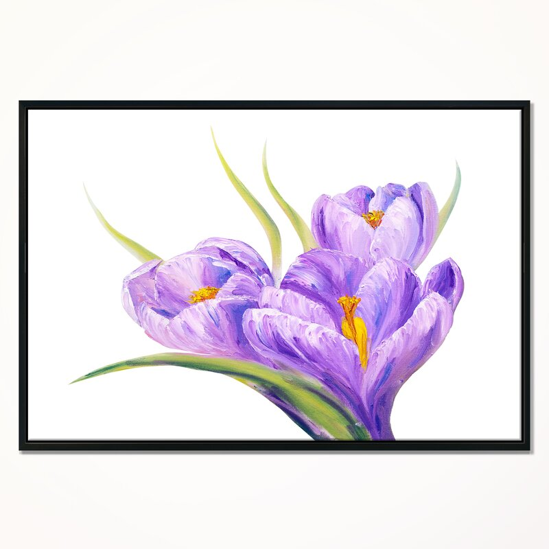East Urban Home Crocuses In White Background Framed Oil Painting Print On Wrapped Canvas Wayfair