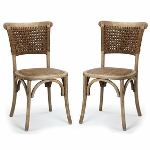 Dining Cane Solid Wood Dining Chair (Set of 2) by Adeco Trading