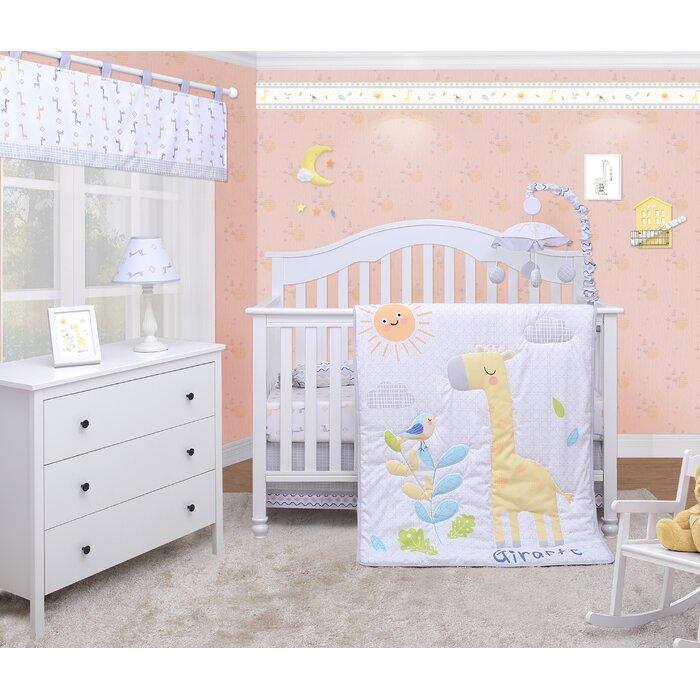 Lincoln Giraffe Animals Baby Nursery 6 Piece Crib Bedding Set