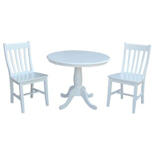 Petra Extendable Pedestal 3 Piece Solid Wood Bistro Set by August Grove Cheap