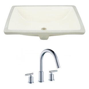 Big Save CUPC Ceramic Rectangular Undermount Bathroom Sink with Faucet and Overflow By American Imaginations