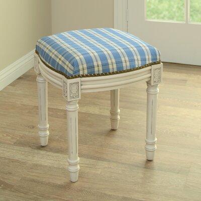 123 Creations Plaid Upholstered Vanity Stool