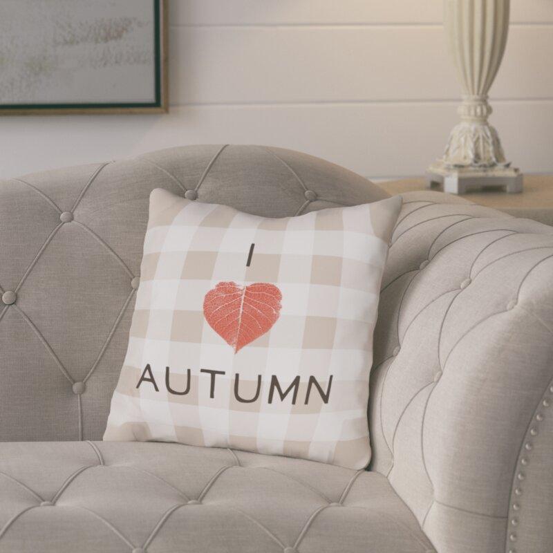 August Grove I Heart Autumn Plaid Throw Pillow Reviews Wayfair