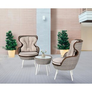 Latitude Run Oman 3-Pieces Rattan 2 Person Seating Group with Cushion