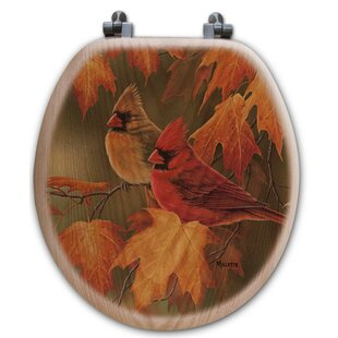 WGI-GALLERY Maple Leaves and Cardinals Oak Round Toilet Seat
