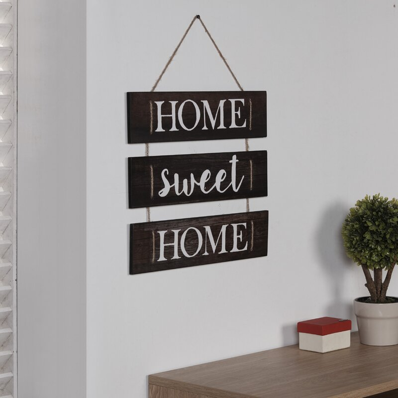 Gracie Oaks Home Sweet Home Hanging With Rope Wall Decor Reviews