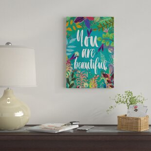 You Are Beautiful Graphic Art Print On Canvas