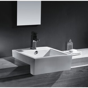Kingston Brass Concord Ceramic Rectangular Wall-Mount Bathroom Sink with Overflow