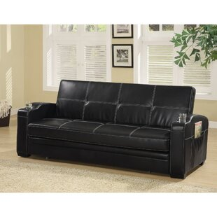 Molesworth Faux Leather Convertible Sofa by Latitude Run