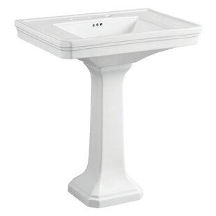 Price Check Victorian Ceramic 35 Pedestal Bathroom Sink with Overflow ByKingston Brass