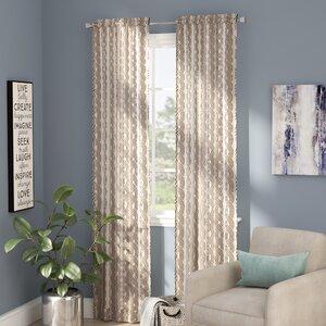 Kimber Geometric Room Darkening Rod Pocket Curtain Panels (Set of 2)