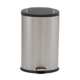 Design Trend Oval Stainless Steel 10 Gallon Step On Trash Can