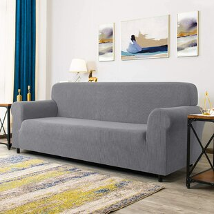 Checks Spandex Jacquard Box Cushion Sofa Slipcover By 17 Stories