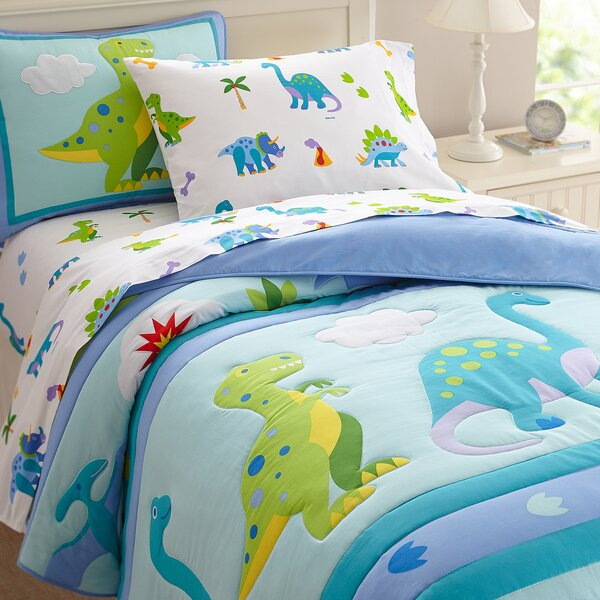 Wildkin Olive Kids Dinosaur Land Cotton Comforter Set