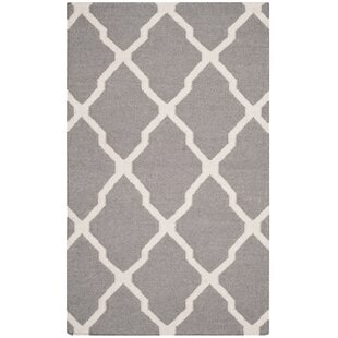 Dhurries Dark Grey Ivory Area Rug