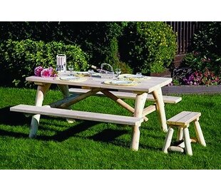 Order Olvera Log Wooden Picnic Table with Additional Benches Best reviews