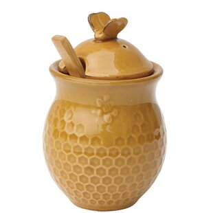 Small Decorative Bees Stoneware Honey 2 Piece Storage Jar Set