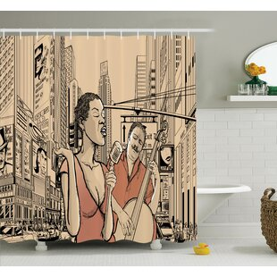 Comparison Music Jazz Singer New York Shower Curtain Set By Ambesonne