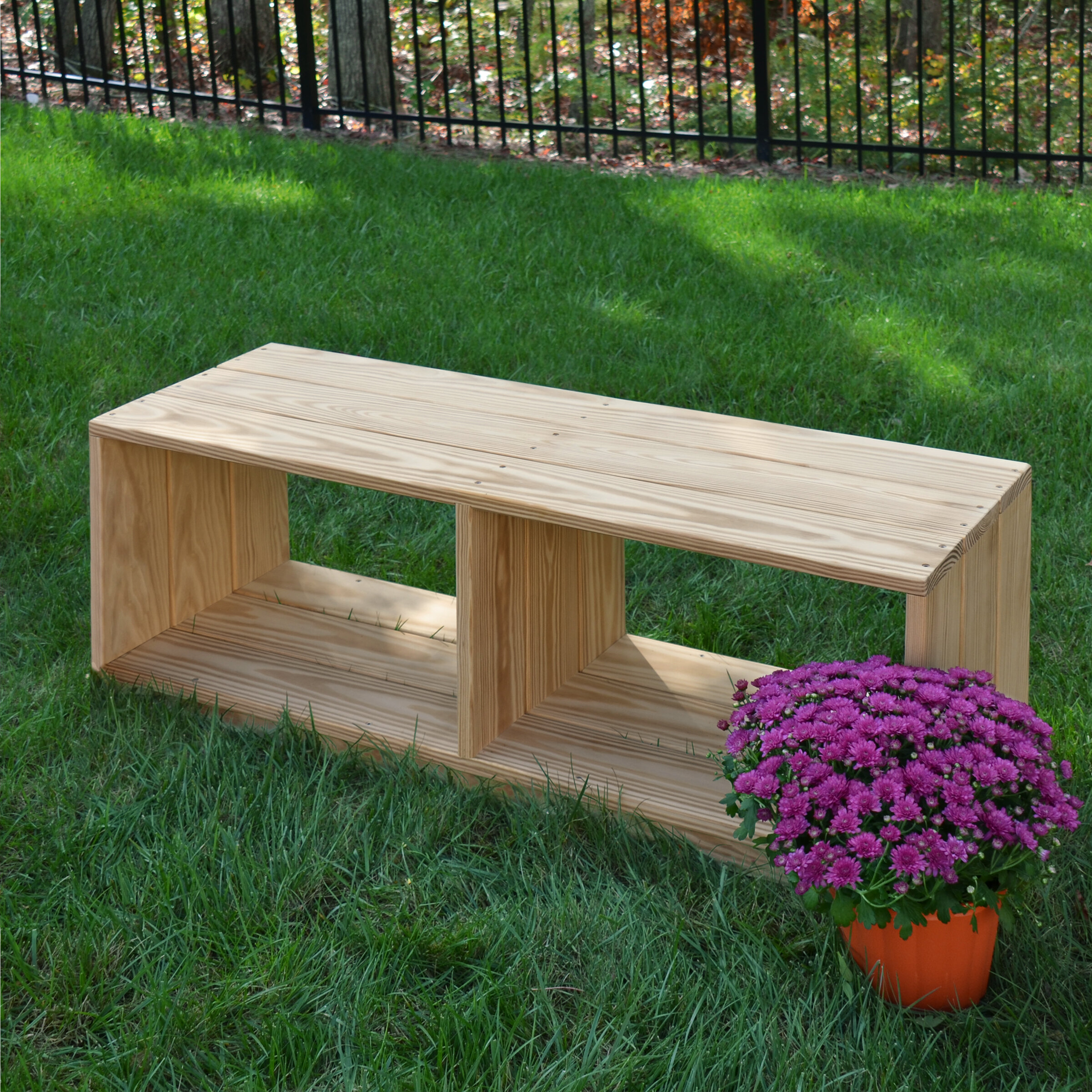 Outdoor Solid Wood Storage Bench