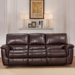 Deverell Leather Reclining Sofa by World Menagerie