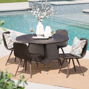 Bigby Outdoor Wicker 5 Piece Dining Set