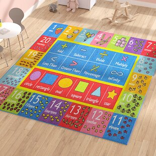 weranna math symbols numbers and shapes educational learning bluered indooroutdoor area rug