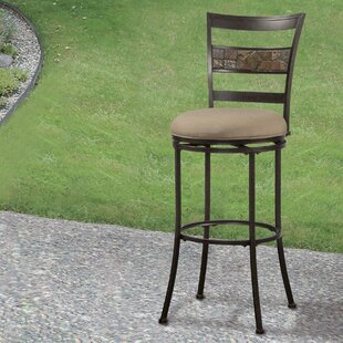 Hoytville 26 Swivel Indoor/Outdoor Patio Bar Stool Red Barrel Studio