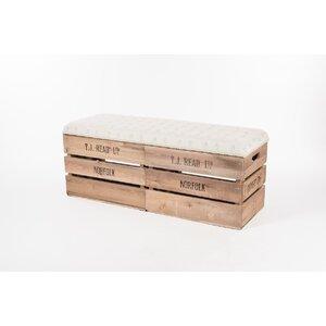 Gepolsterte Sitzbank Apple Crate aus Holz mit Stauraum von Tiffany Jayne Designs