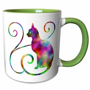 Fleischer Rainbow Effect Cat Silhouette with Swirls Coffee Mug