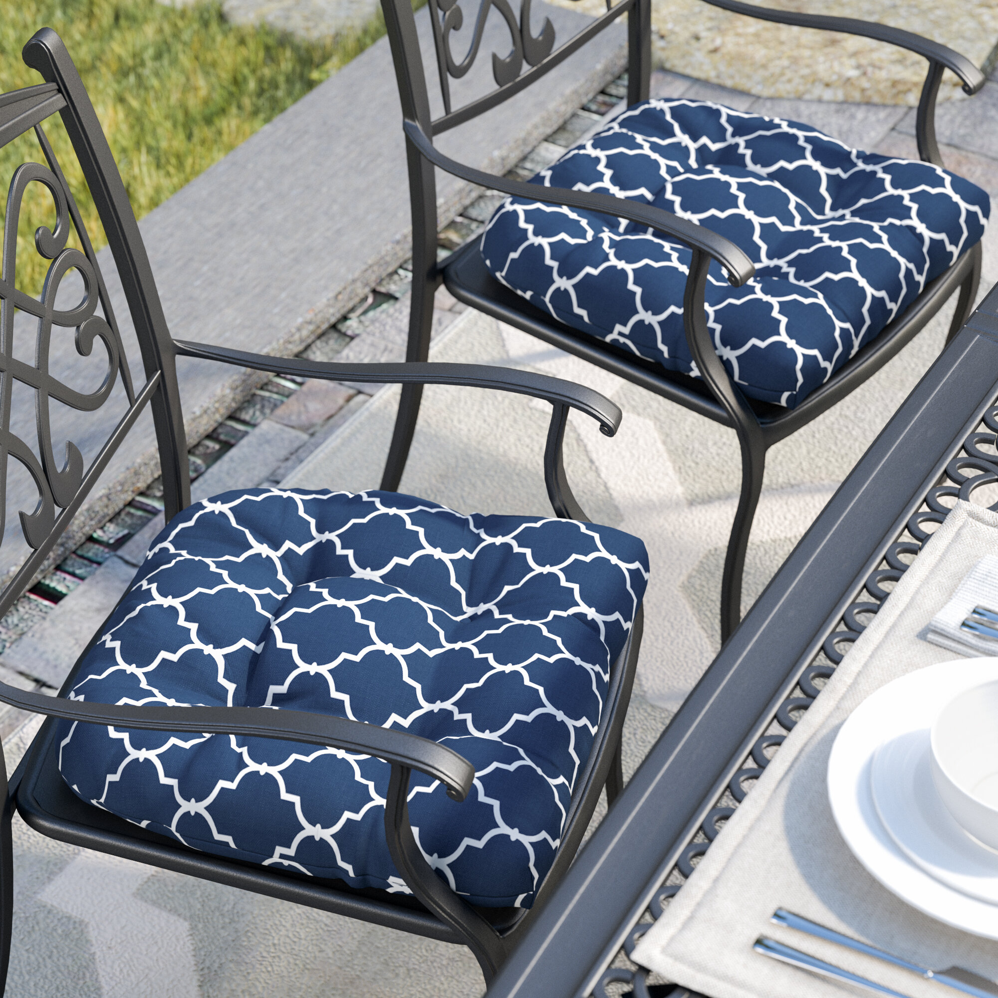 Charlton Home Indoor Outdoor Dining Chair Cushion Reviews Wayfair Ca