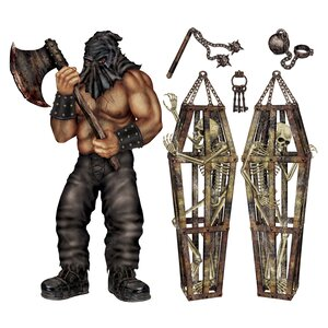 6 Piece Halloween Executioner and Skeleton Prop Set