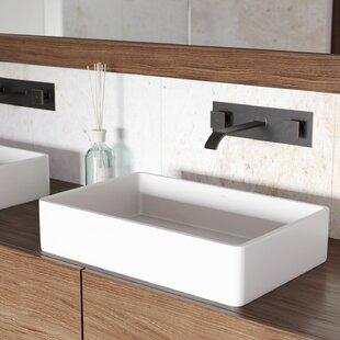 Affordable VIGO Matte Stone Rectangular Vessel Bathroom Sink with Faucet By VIGO