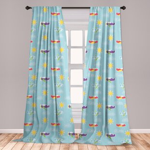 Ambesonne Airplane Curtains, Patchwork Style Baby Boy Kids Pattern  Transportation Travel On Blue Strips, Window Treatments 2 Panel Set For  Living Room ...