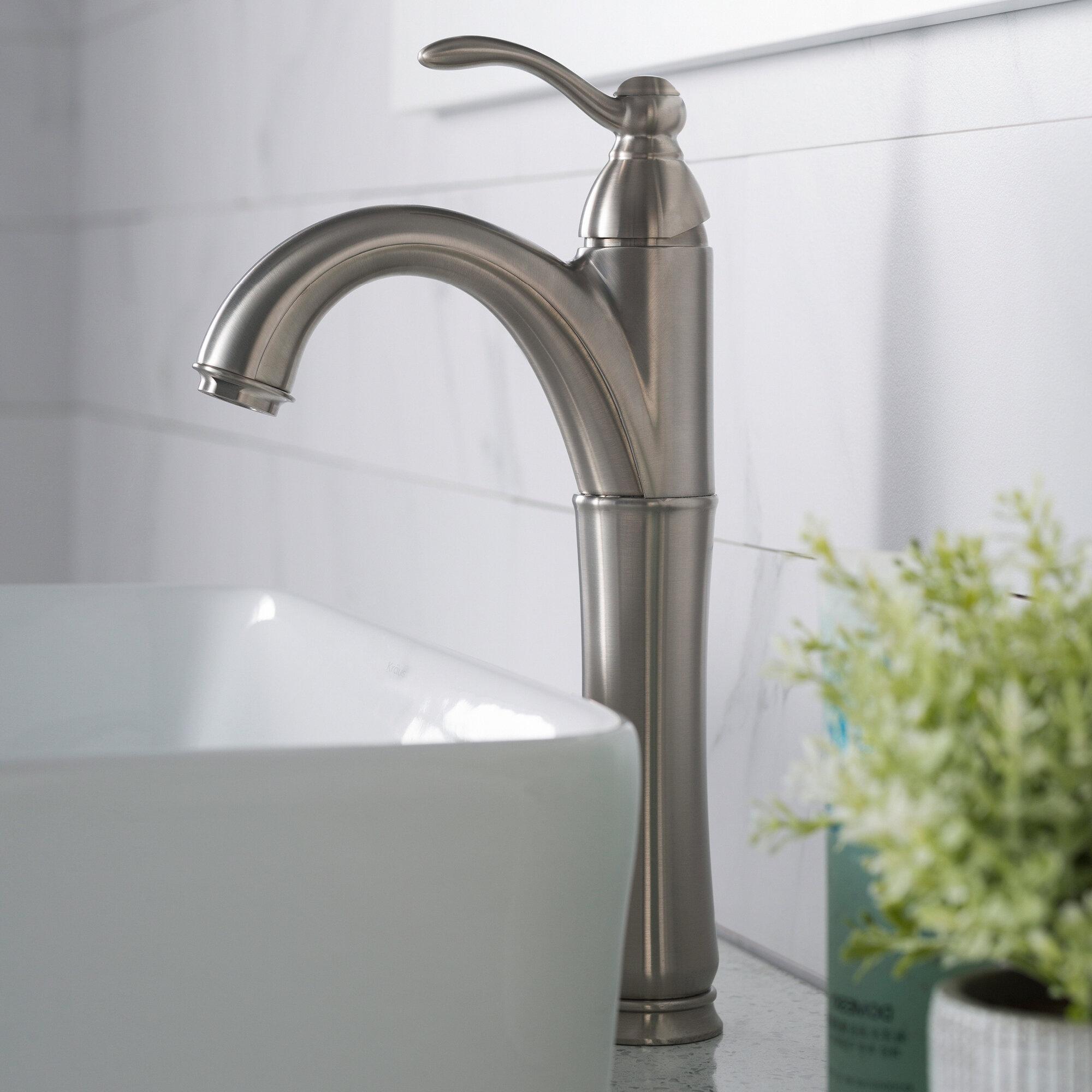 FVS-1005-PU-10ORB,PU-10SN,PU-10CH Kraus Vessel Mixer Single Hole Bathroom Faucet with Optional Pop Up Drain & Reviews | Wayfair