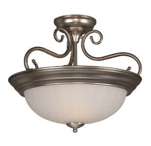 Holcomb 2-Light Semi Flush Mount by Alcott Hill