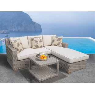 Dutil 3 Piece Sunbrella Sectional Seating Group with Cushions