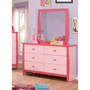 Amabilia 6 Drawers Double Dresser with Mirror