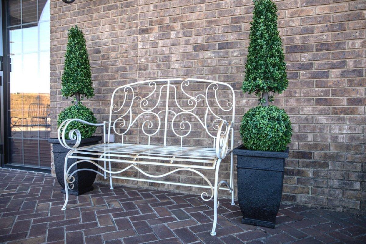 One Allium Way Stephen Distressed Metal Garden Bench