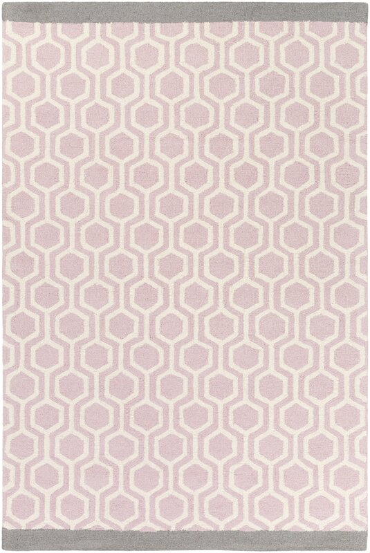 Exceptional Hilda Eva Hand Crafted Light Pink/Gray Area Rug