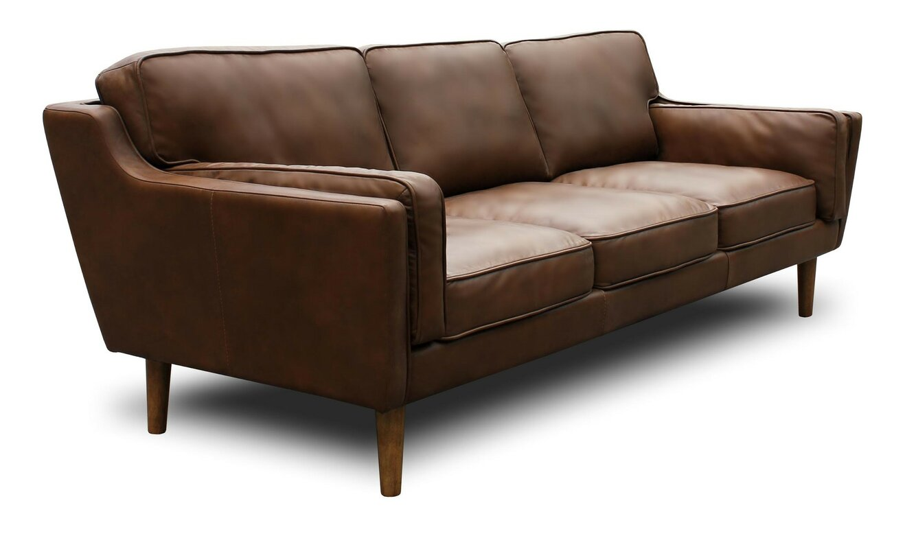 Kaufman Mid Century Modern Leather Sofa Reviews Joss Main