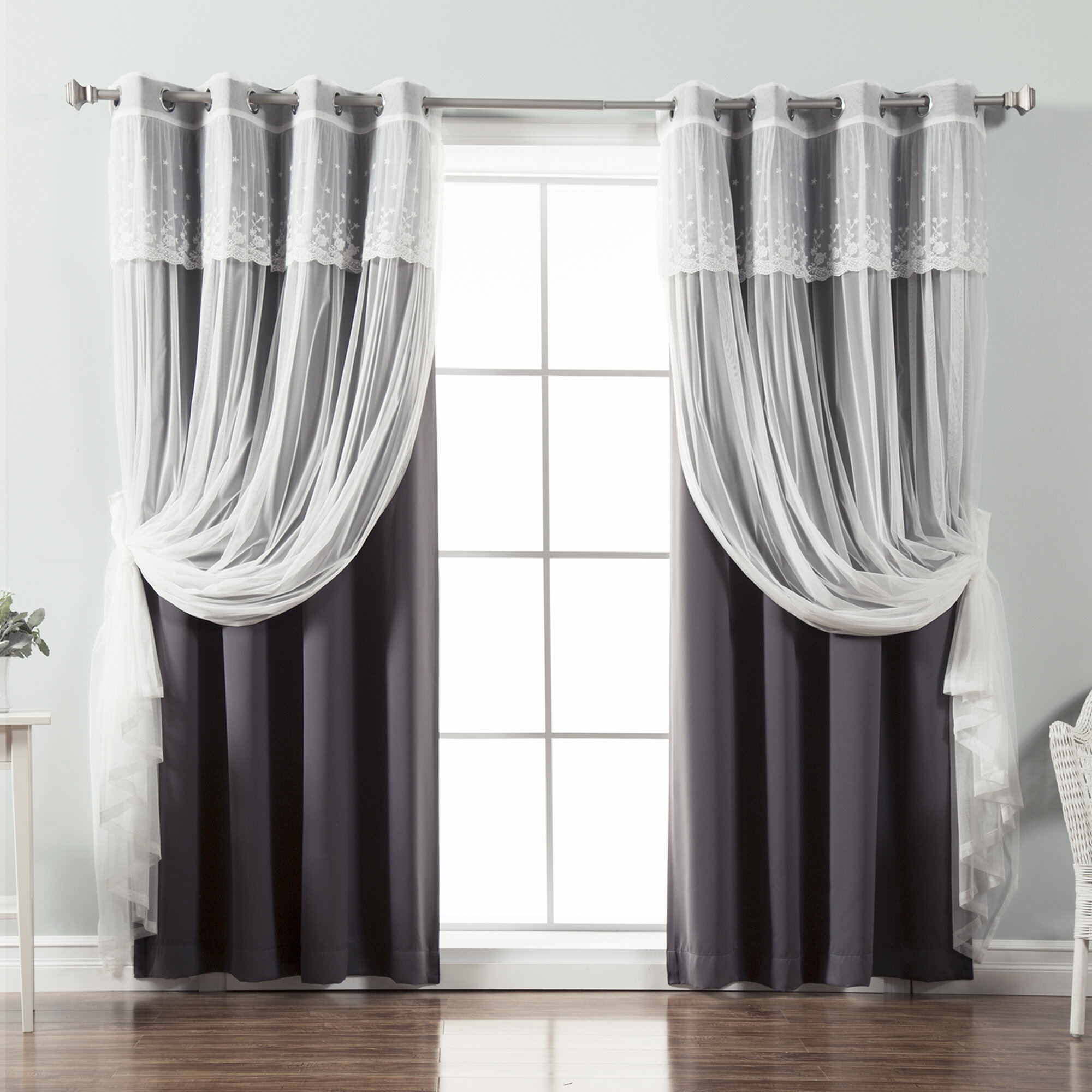 Tulle Overlay Blackout Rod Pocket Thermal Window Curtains Drapes Bedroom Decor