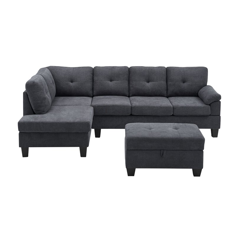 Latitude Run Azziah 98 Chenille Left Hand Facing Sofa And Chaise With Ottoman Wayfair